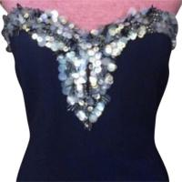 Strapless Beaded Bodice Crepe Gown Angle4