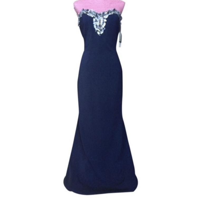 Strapless Beaded Bodice Crepe Gown