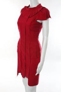 Temperley London Red Silk Cotton Pleated Trim dres