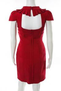 Temperley London Red Silk Cotton Pleated Trim dres Angle3