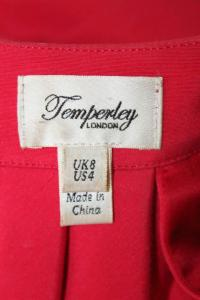 Temperley London Red Silk Cotton Pleated Trim dres Angle4