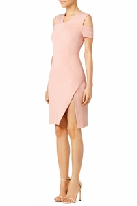 Yigal Azrouel Blush Pink Slip Shoulder Dress Angle4