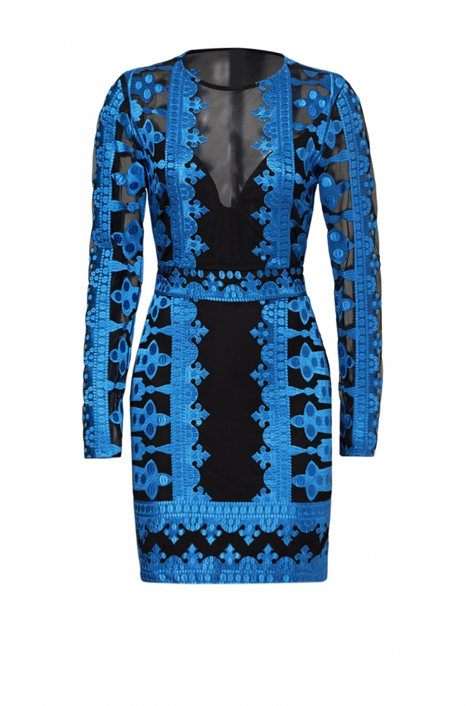 Yigal Azrouel Embroidered Mesh Dress