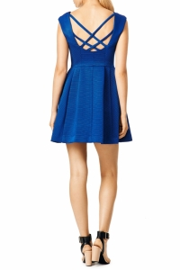Nanette Lepore Blue Ribbed Short Dress Angle3