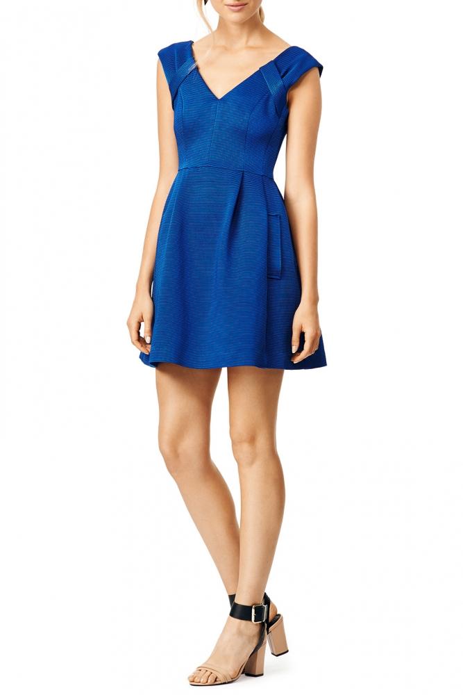 Nanette Lepore Blue Ribbed Short Dress