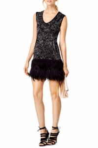 Nanette Lepore Black and Silver sleeveless Feather Angle2