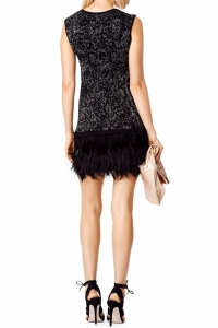 Nanette Lepore Black and Silver sleeveless Feather Angle3