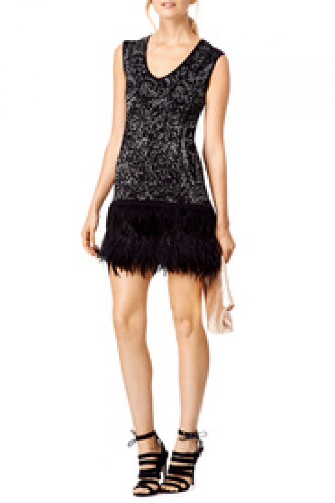 Nanette Lepore Black and Silver sleeveless Feather