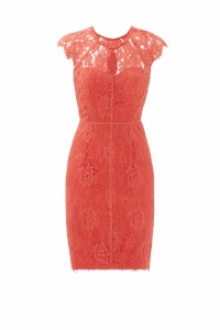 Monique Lhuillier Sleeveless Lace Crew Neckline wi