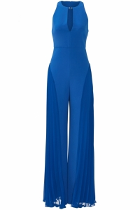 Halston Heritage Blue Jumpsuit with Pleated Wide L