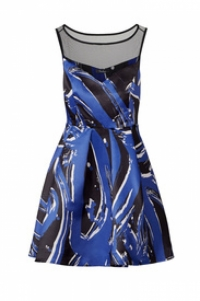 Parker Printed Splatter Dress with Black Mesh Boat