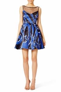 Parker Printed Splatter Dress with Black Mesh Boat Angle2
