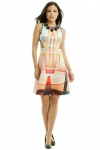 Clover Canyon Eccentric Cut Out Print Dress