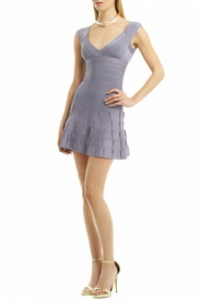 Herve Leger Sleeveless Fitted Flare Bottom Short D Angle2