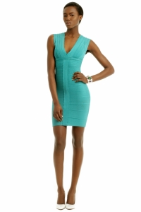Herve Leger Sleeveless V Neck Fitted Pencil Skirt