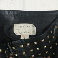New Nicole Miller Atelier Studded Leather Skirt Angle2