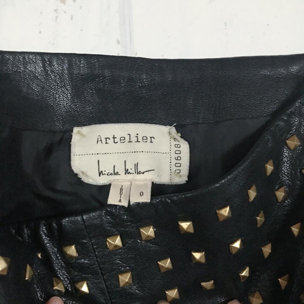 New Nicole Miller Atelier Studded Leather Skirt
