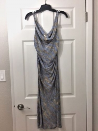 DVF silk printed dress- blue with brown stripes Angle4