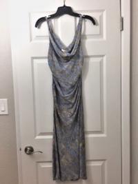 DVF silk printed dress- blue with brown stripes