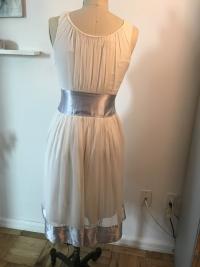 White flowy Chloe Dress with blue satin trim Angle5