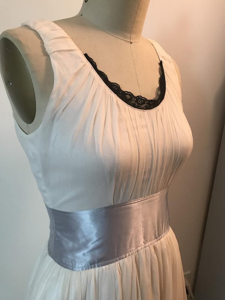 White flowy Chloe Dress with blue satin trim