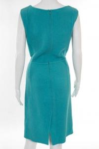 Oscar De La Renta Teal Blue Dress Angle4