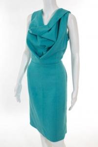 Oscar De La Renta Teal Blue Dress Angle3