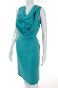 Oscar De La Renta Teal Blue Dress Angle1