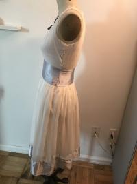 White flowy Chloe Dress with Blue satin trim Angle3