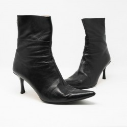 Black Gucci Leather Ankle Boots