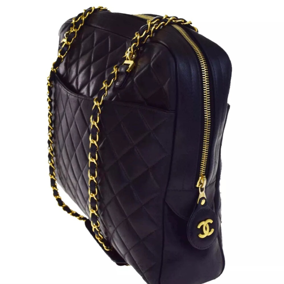 Chanel Large Quilted lblack leather matalesse shou