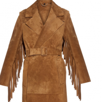 Fringe leather coat