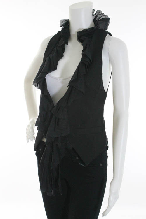 Black Ruffle Vest
