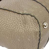 Authentic FENDI Grayish leather handbag Angle7