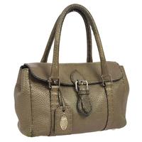 Authentic FENDI Grayish leather handbag Angle1