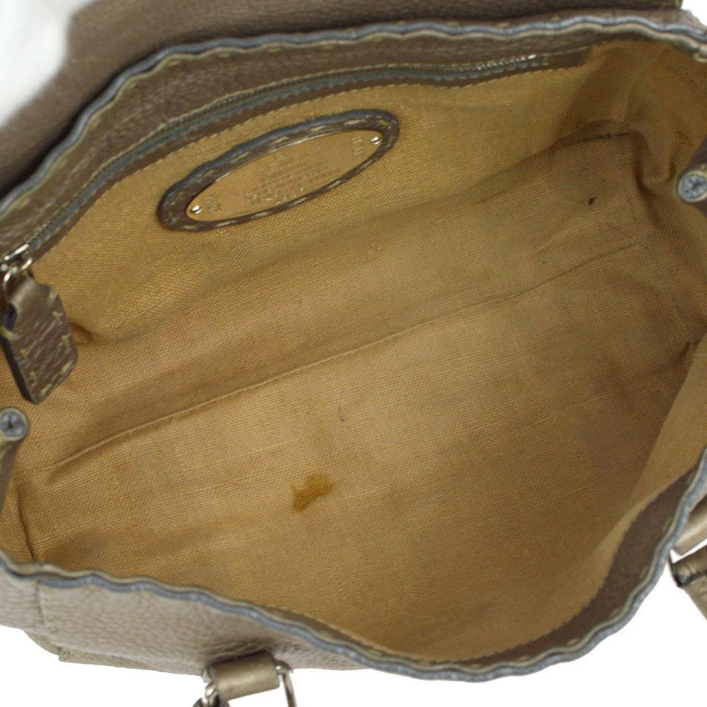 Authentic FENDI Grayish leather handbag