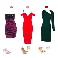 Sequin & Satin Strapless Ruched Mini Dress Angle6