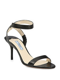 Prada Leather Ankle Strap Sandal in Black