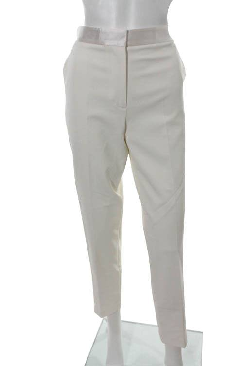Ivory Creased Straight Leg Dress Pants