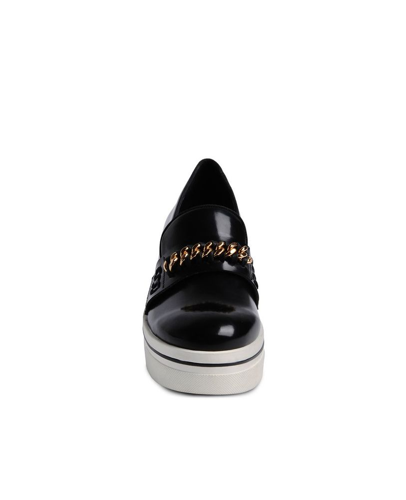 black leather Binx chain platform