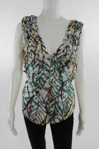 Adam Lippes multicolored  sleeveless v-neck blouse
