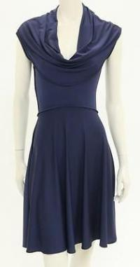 Navy Blue Jersey Knit Cap Sleeve Dress