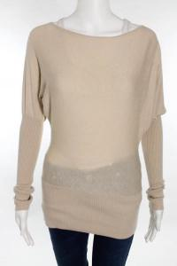 Beige Long Sleeve Stretch Knit Boatneck Sweater