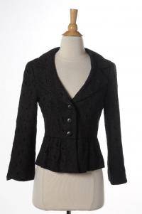 Black Floral Eyelet 3 Button Peplum Blazer Jacket