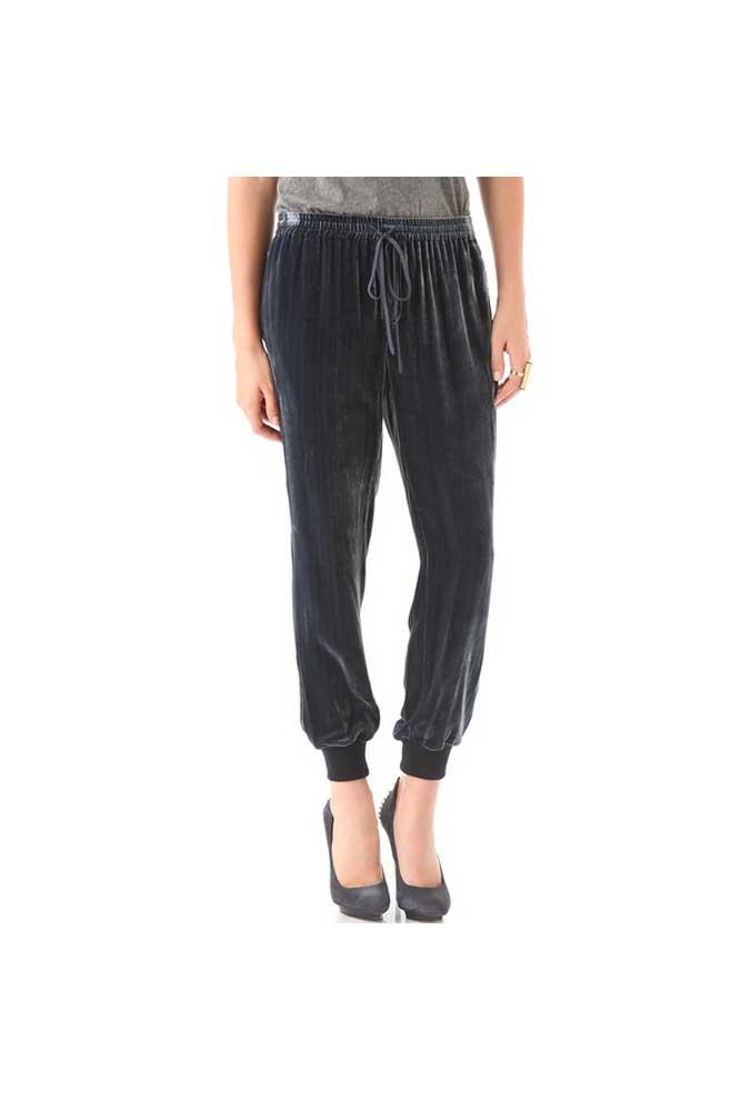 Gray Velour Silk Piping Drawstring Lounge Pants