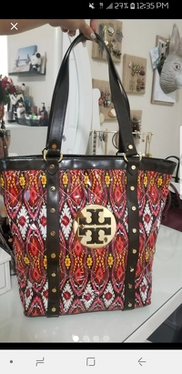 Tory Burch Quilted Patent Ikat Tote