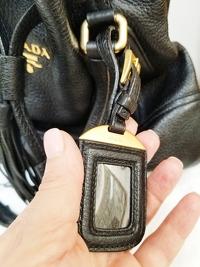 Prada Drawstring Black Deer Leather Tote Angle6