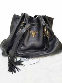 Prada Drawstring Black Deer Leather Tote