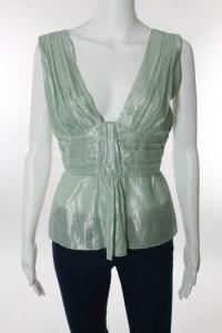 Mint Green Metallic Sleeveless Empire Waist Top Angle2