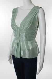 Mint Green Metallic Sleeveless Empire Waist Top Angle4